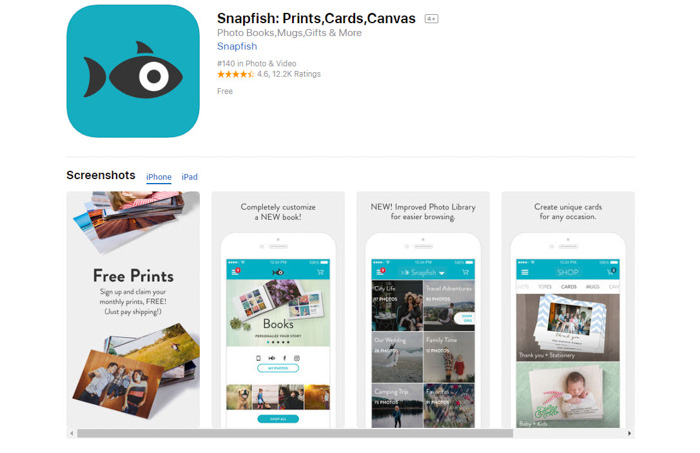 Screenshot of Snapfish best photo storage app homepage