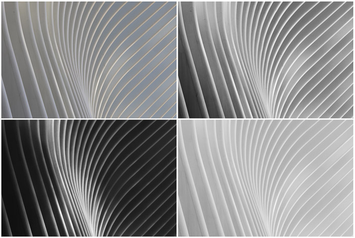A four photo grid showing Various editing results of a single original architecture piece (top left)