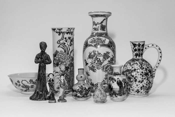 Black And White Fine Art Photography still life of Asian art pieces photographed for an auction house catalogue in Cologne, Germany.