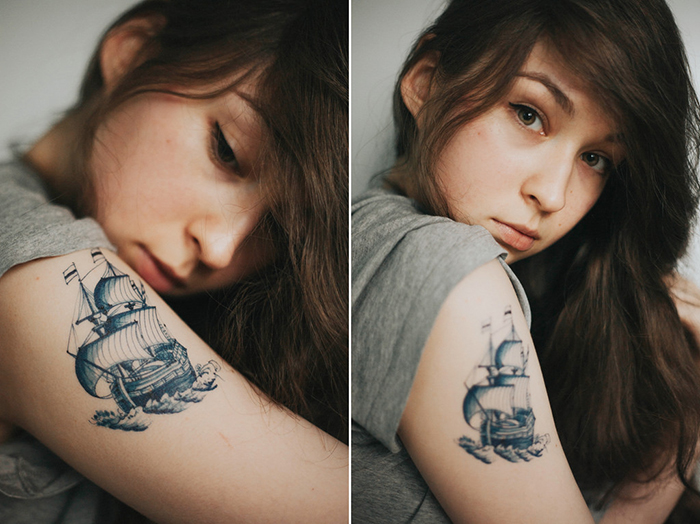 A cool portrait photography diptych of a female model with a ship tattoo