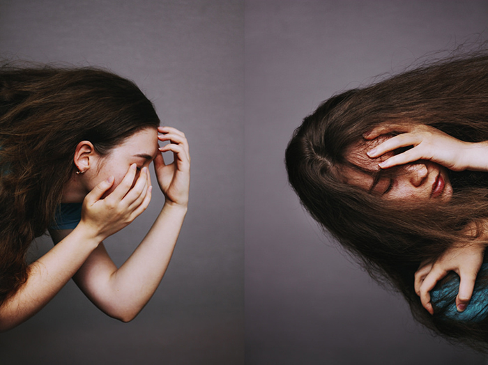 Atmospheric portrait diptych photography of a female model