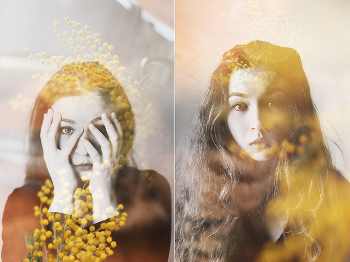 Dreamy diptych photography portrait of a female model using double exposure