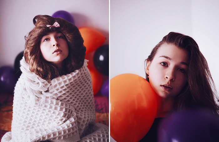 A fine art portrait diptych of a female model with orange and purple balloons