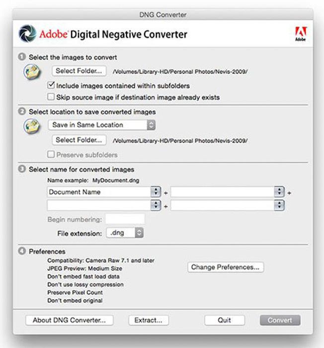 Screenshot of Adobe Digital Negative Converter