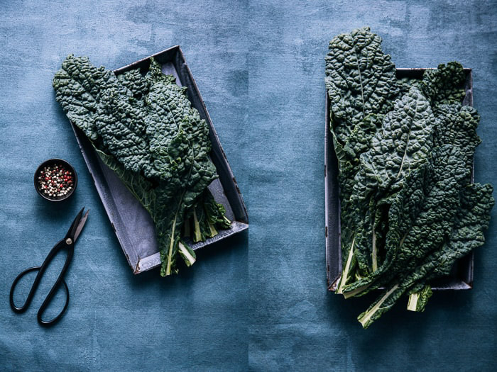 Atmospheric fine art food photography still life diptych of kale