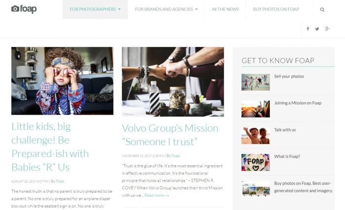 Screenshot of foap website interface