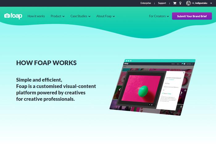 Screenshot of foap website interface, foap review 2018