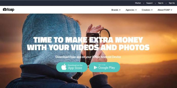 A screenshot of the foap homepage