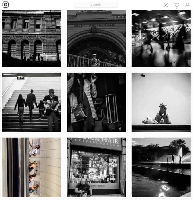 A grid of architectural photos on Instagram - how to become Instagram famous