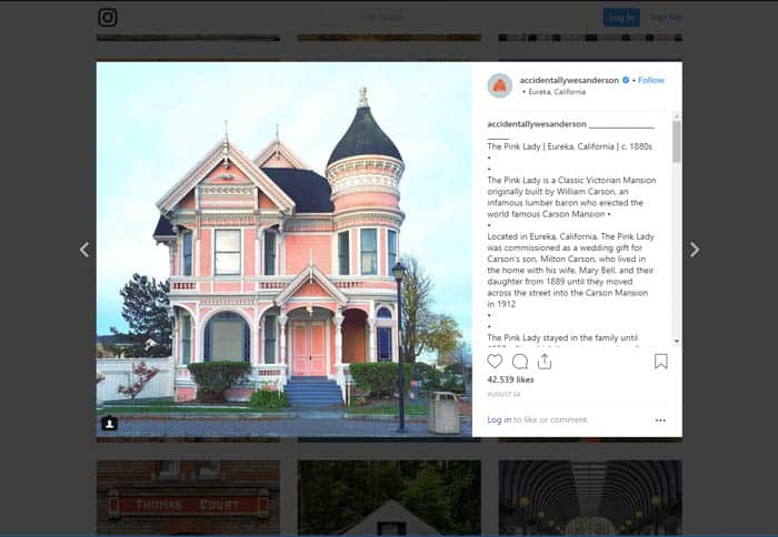 A screenshot of a hoto of a house on Instagram