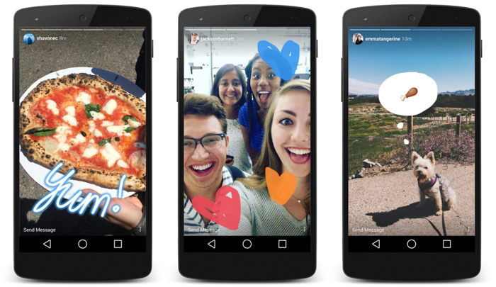 Three smartphone camera screens showing different Instagram stories