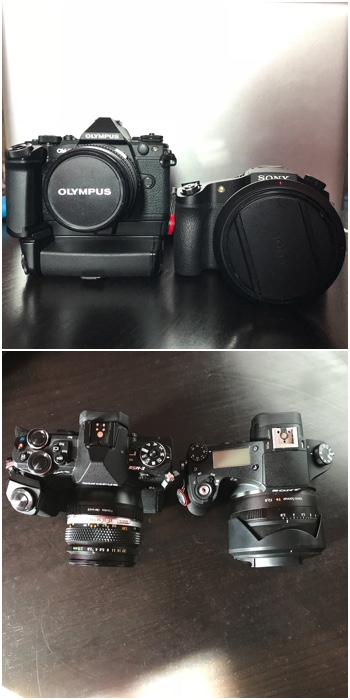Diptych of the OM-D EM-5 Mk ii with power grip Vs the Sony RX10 bridge camera - mirrorless camera tips