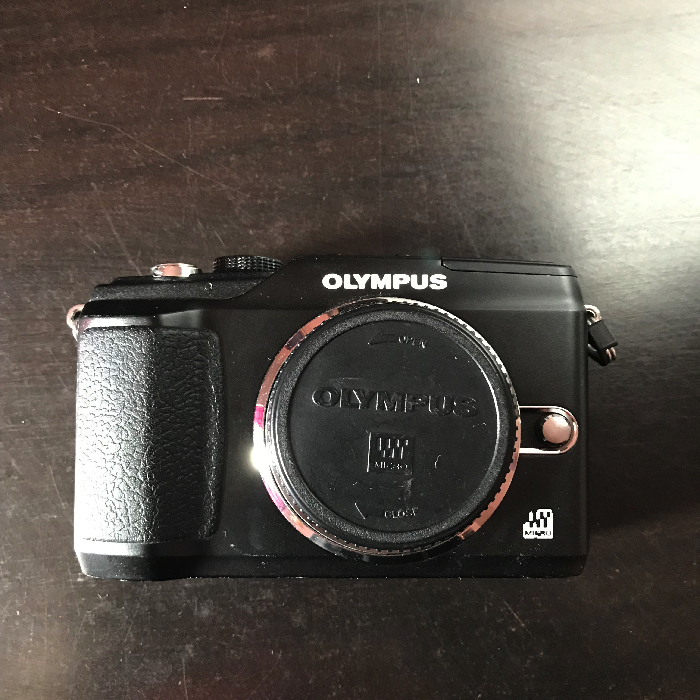 One of the first Olympus mirrorless cameras: the EPL-2 with MFT sensor and no EVF.
