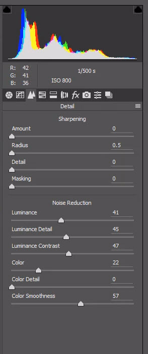 A screenshot of how to reduce digital noise in Lightroom