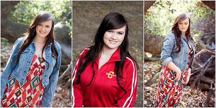 A bright and airy senior portrait triptych of a dark haired girl posing outdoors