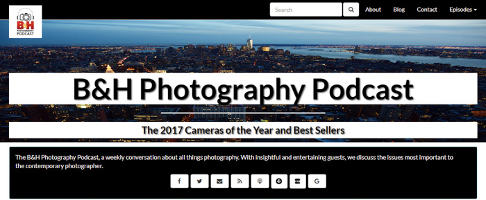 A screenshot of 'b&h photography podcast' homepage - top podcasts 2018 for photographers
