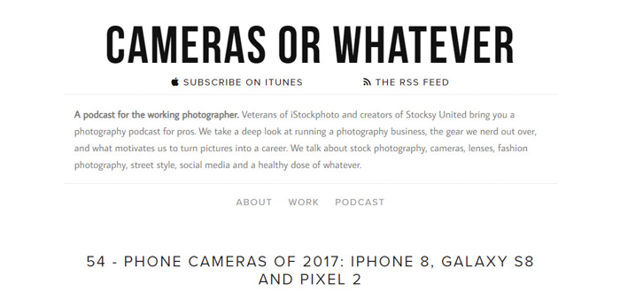 A screenshot of 'camera or whatever' top podcasts 2018 for photographers - best photography podcast