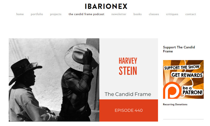 A screenshot of 'The Candid Frame Podcast' homepage - best photography podcast