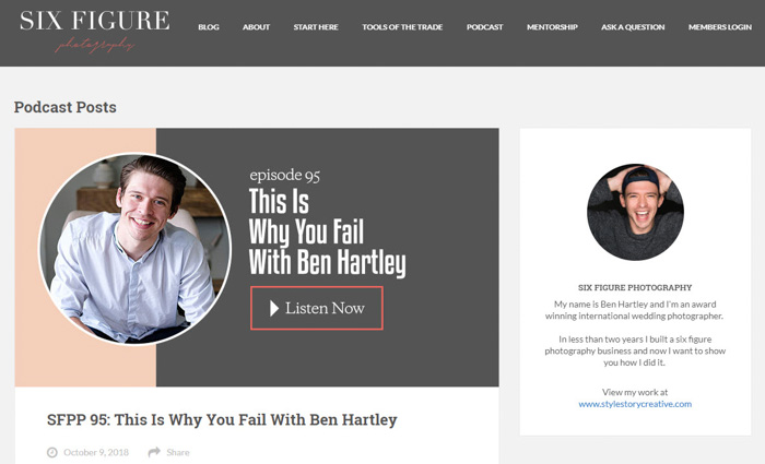 A screenshot of 'The Six Figure Photography Podcast' homepage - best photography podcast