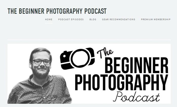 A screenshot of 'the beginner photography podcast' homepage - best podcasts 2018 for photographers