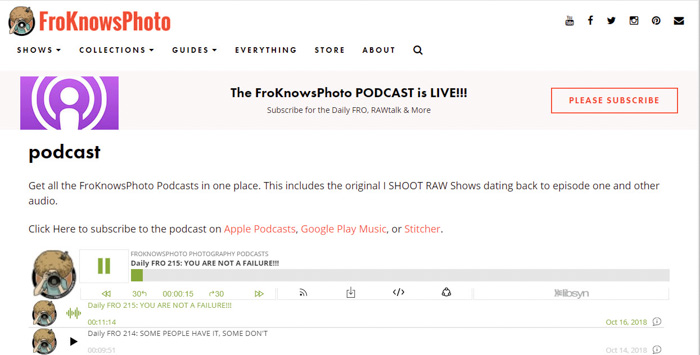 A screenshot of 'Fro Knows Photo' homepage - best photography podcast
