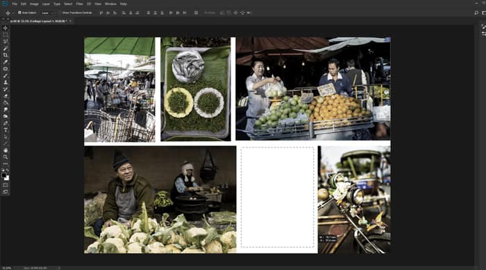 Screenshot of how to make a collage in Photoshop