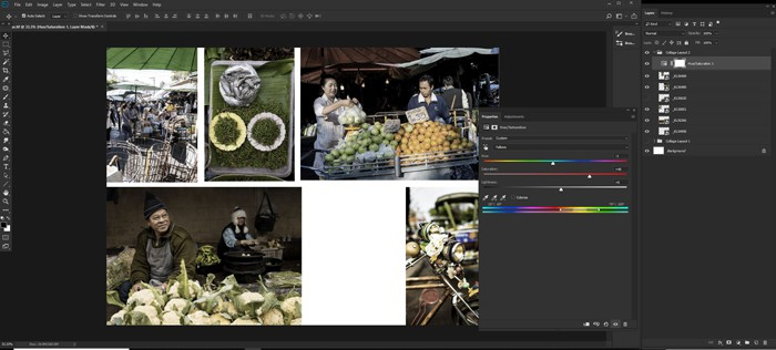 Screenshot of making a Photoshop collage