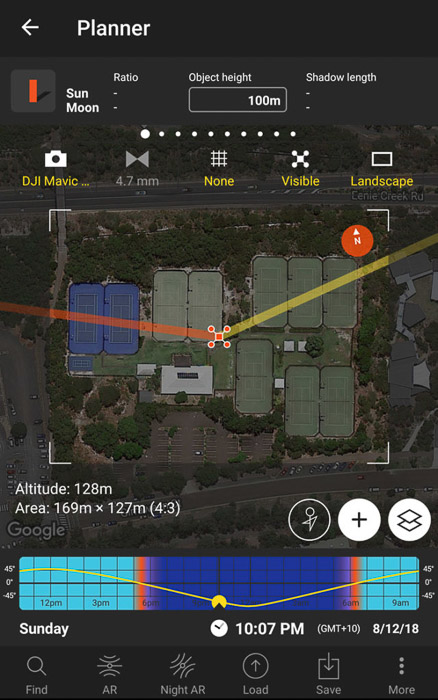 A screenshot of photopills app for drone photography