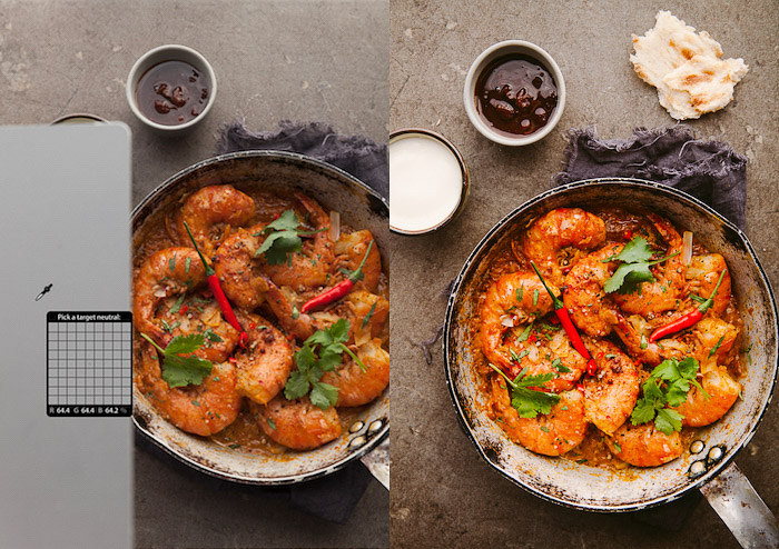 Diptych of editing food photography -how to make photos look professional
