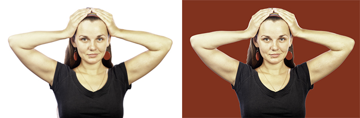 A diptych photo portrait of a female model, one with a pure white background and a red background