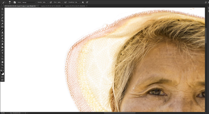 Screenshot of how to make a white background on Photoshop