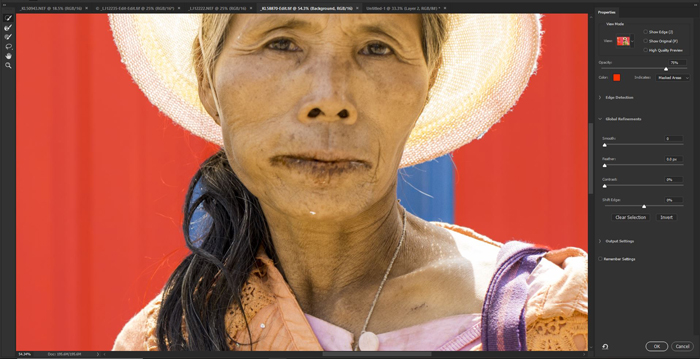 Screenshot of removing the background of a portrait in Photoshop