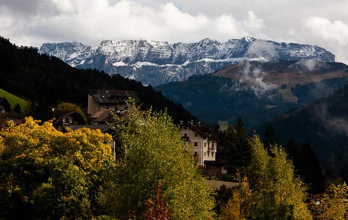 Stunning aerial shot of Autumn in the italian Alps