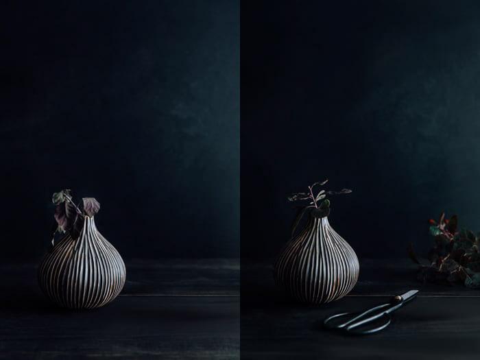 Um díptico fotográfico de comida escura e temperamental