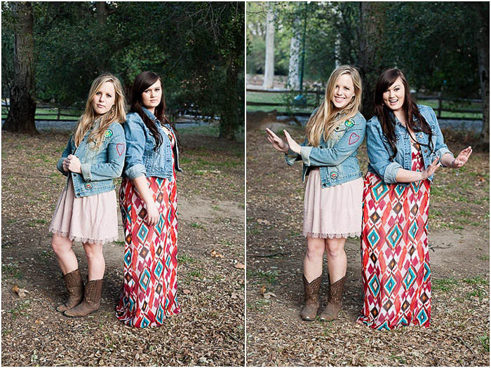 Diptych senior photos of best friends posing outdoors