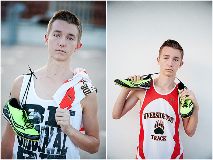 Diptych senior photo of a young man in track gear