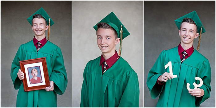 A triptych senior photo of a young man posing in graduation cap and gown