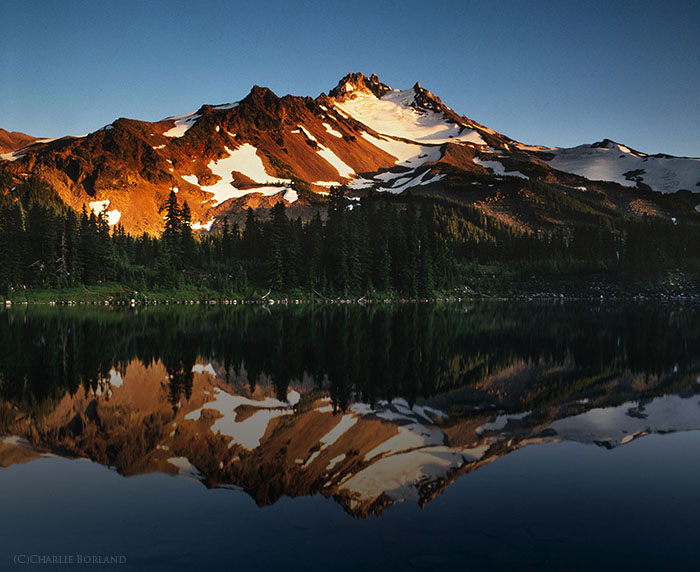 A solo adventure photography shot of Mt. Jefferson & Scout Lake, Oregon