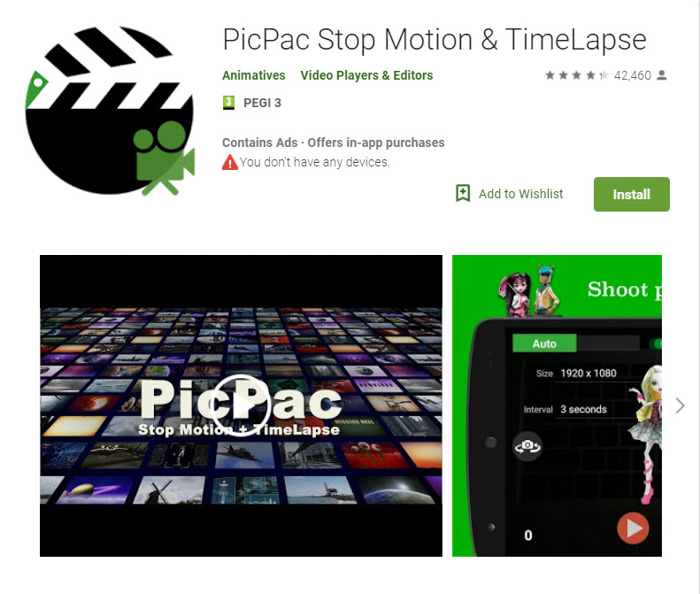 Screenshot of 'PicPac stopmotion and timelapse' app homepage