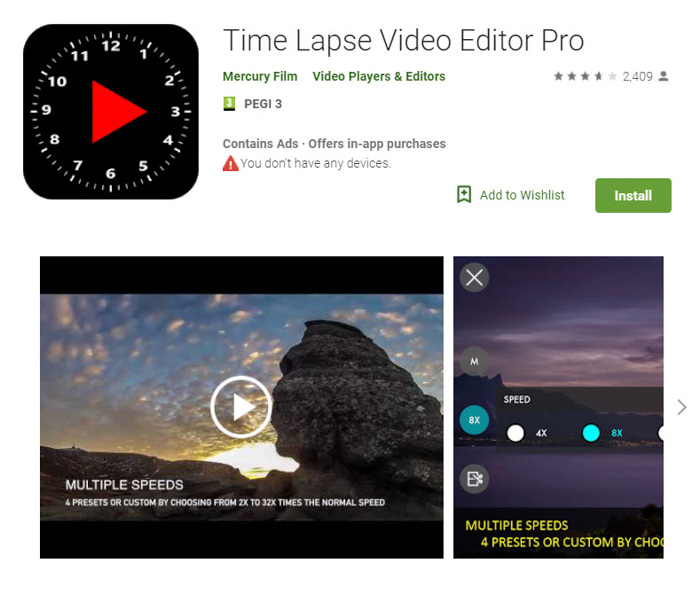 Screenshot of 'TimeLapse Video Editor Pro' app homepage