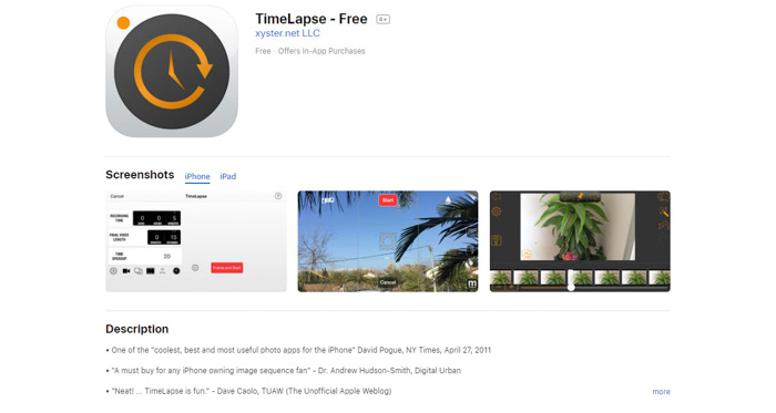 Screenshot of 'TimeLapse free' app homepage