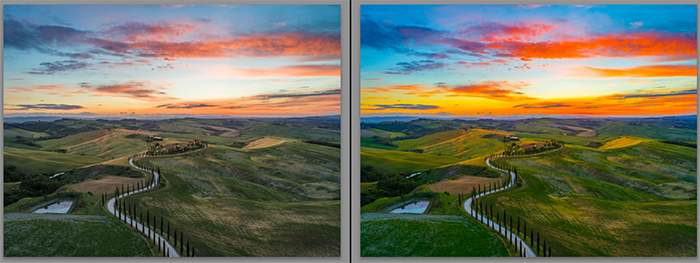 Diptych showing what is saturation and how it effects landscape photography