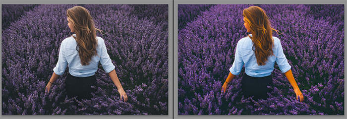Diptych showing what is saturation and what it does to a portrait photo