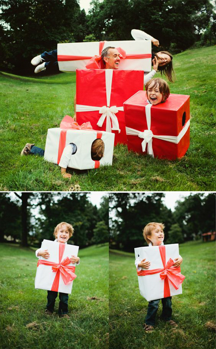 Funny family Christmas card photo triptych of people dressed up as Christmas gifts