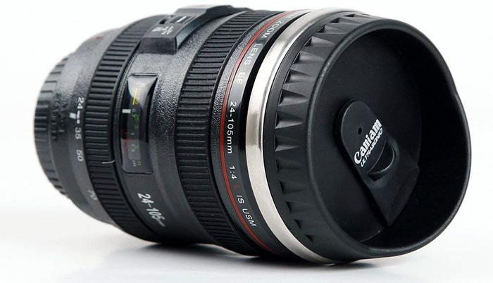MIROO Slr Camera Lens 12 oz Travel Mug