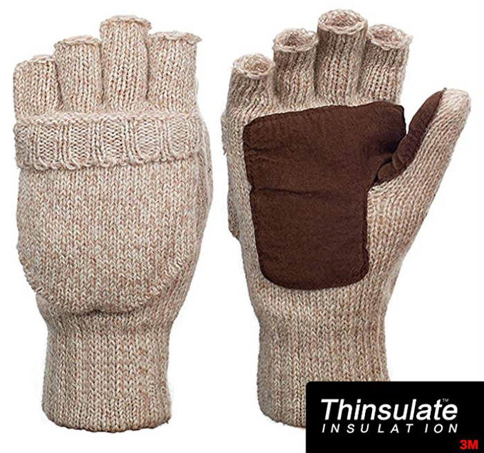 Thinsulate Suede Thermal Insulation Fingerless Gloves with Mitten Cover