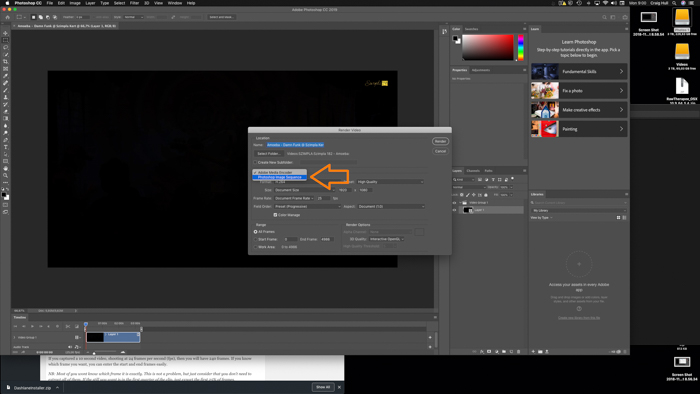 A screenshot showing how to get a picture from a video in Photoshop