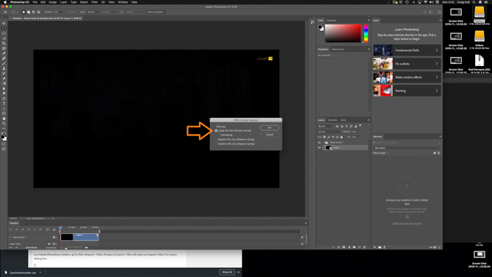 A screenshot showing how to take a picture from a video in Photoshop