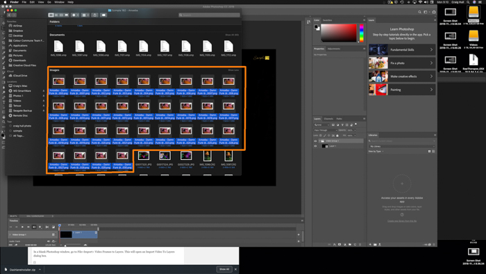 A screenshot showing how to capture a still image from a video in Photoshop
