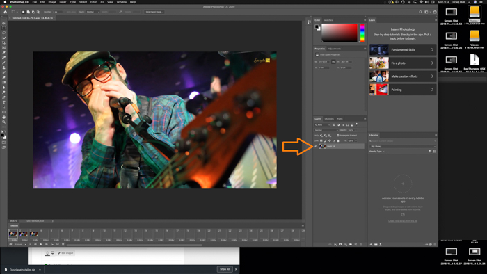 A screenshot showing how to capture still image from video in Photoshop